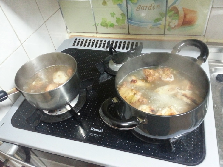 Boil the chicken for 45 minutes - an hour, adding garlic, spices, and a handful of veggies.