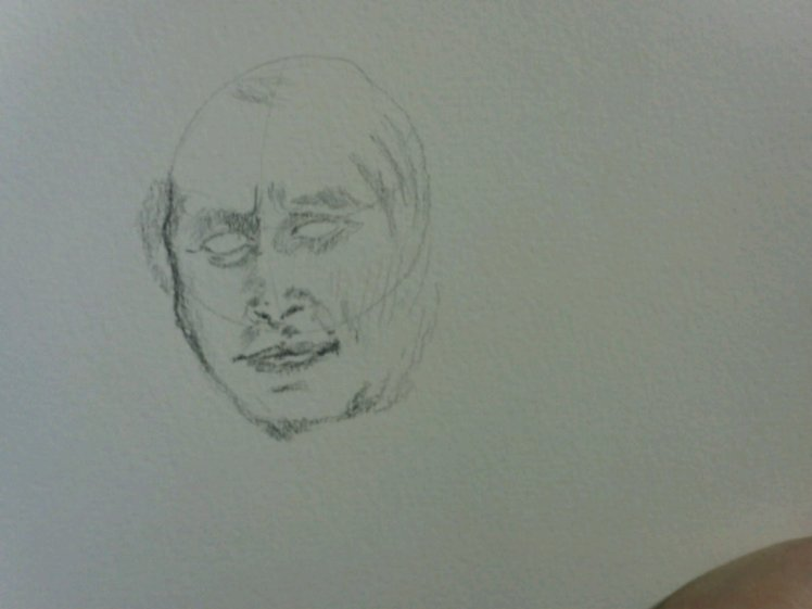 Start sketching out the face and working the proportions of the features.