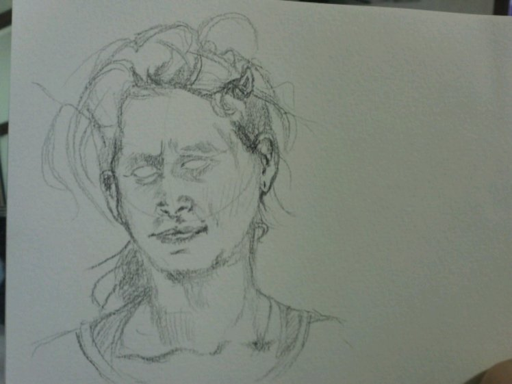 Sketch out the rest: face shape, hair, neck, shoulders.