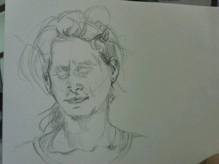 Sketch out the rest: face shape, hair, neck, shoulders.
