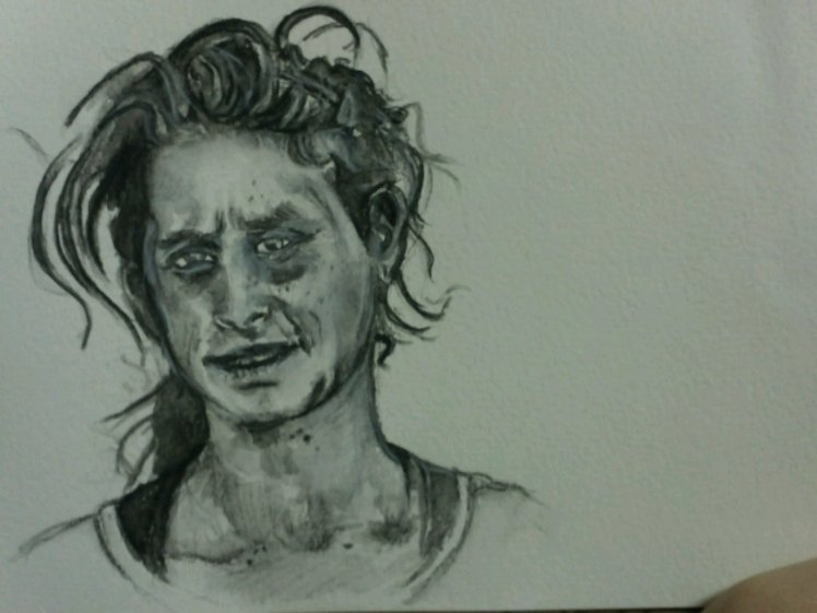 Going over the white watercolour pencil with the brush, creating opacity.
