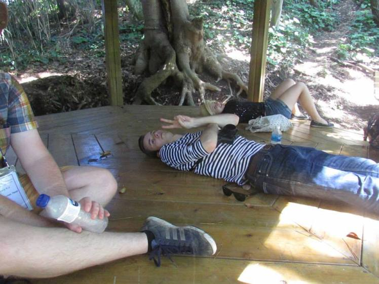 Ricky and I taking a siesta in the gazebo. Photo by Claire.