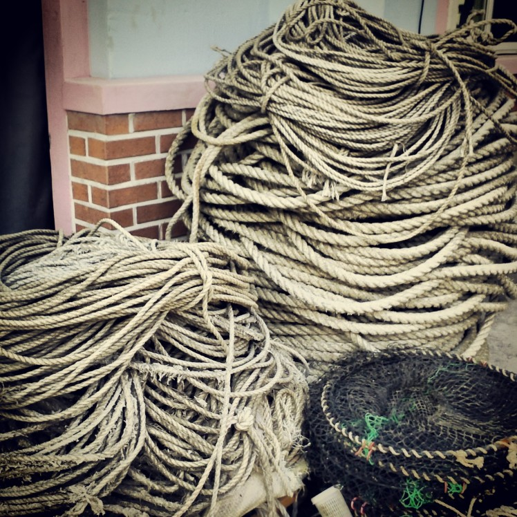 Rope coils posing patiently for me in the coastal village made up of fishermen and workers at the cement factory.