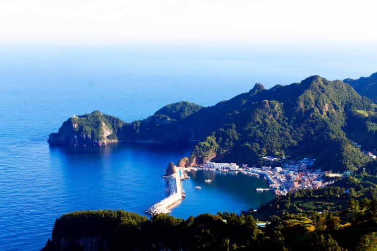 View of Ulleungdo harbour from top of lookout.