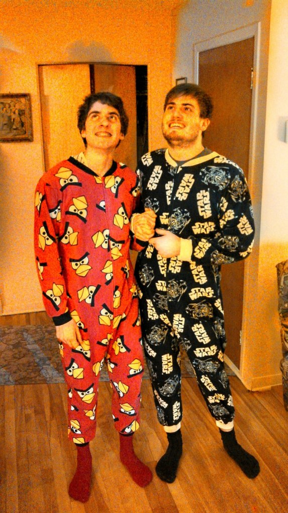 BB and MB in their matching Christmas gifts, 2012.