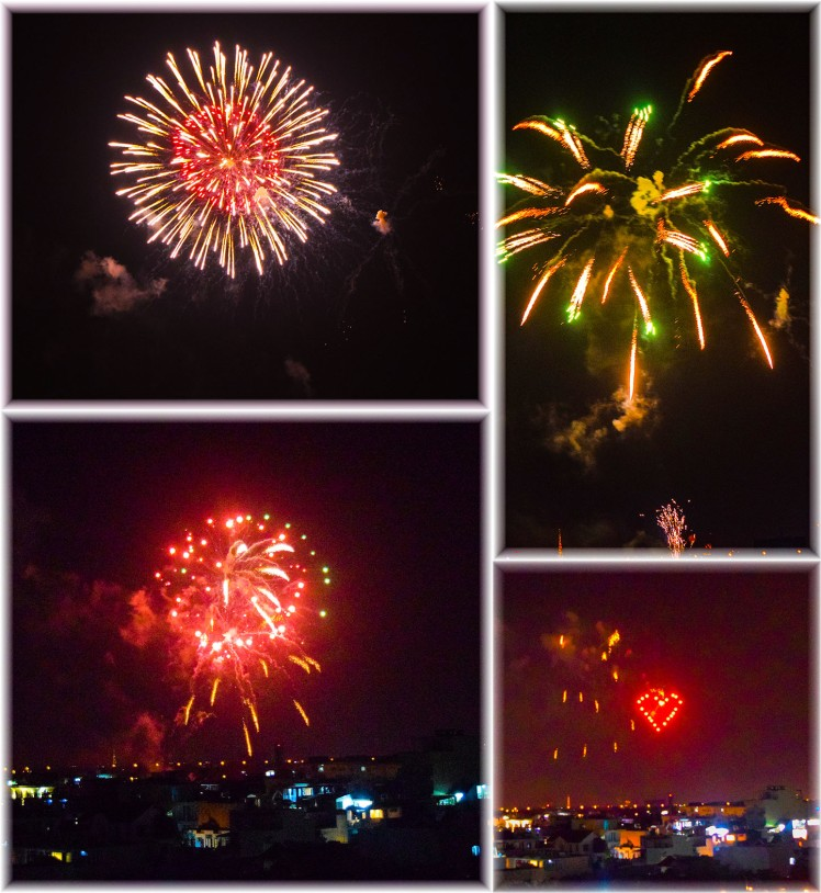 Fireworks seen from our hotel roof. Photos by Ricky.