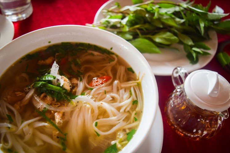 Chicken pho with fish sauce and thai basil.