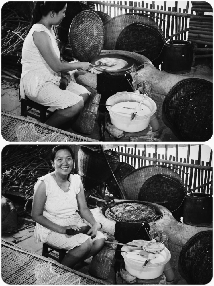 The rice paper pro! She was the sweetest woman and encouraged us to give it a shot. In the first picture she is spreading the batter across the pan; after that, the thatched lid goes down to steam it.