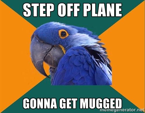 Paranoid tourist parrot.