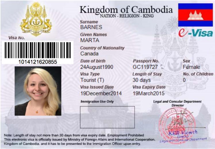 My electronic Cambodian visa.