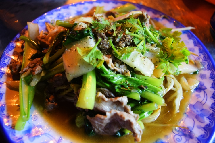 Beef noodle stir fry with bok choy.