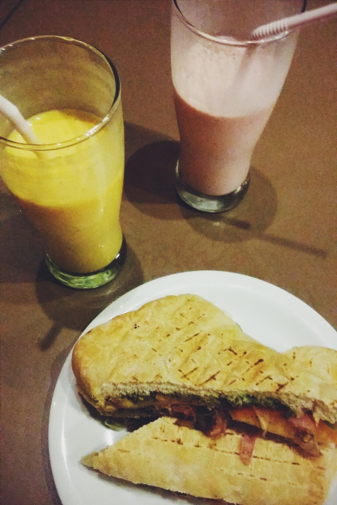 Mango and strawberry smoothies and my delectable panini.