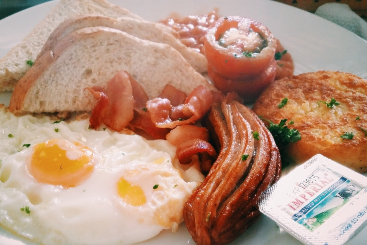 Proper English breakfast which Ricky and I devoured happily.