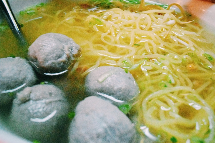Egg noodle and beef ball soup.