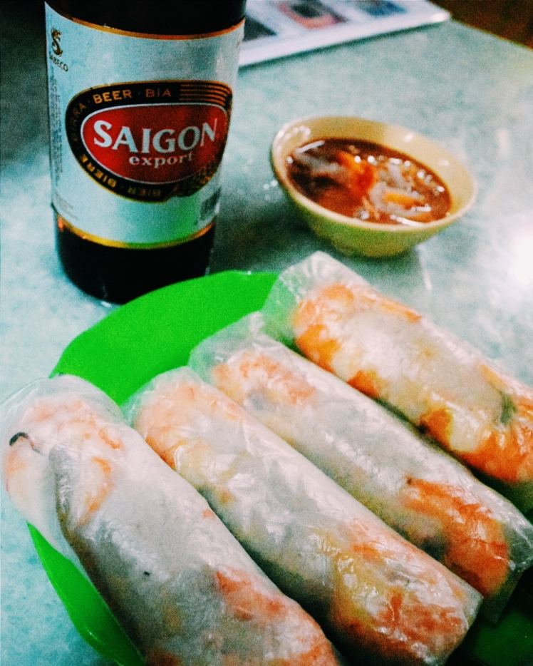 Our spring rolls with chilli-peanut dipping sauce and Saigon beer.