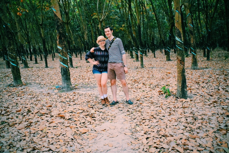 Ricky and I in the rubber tree forest.