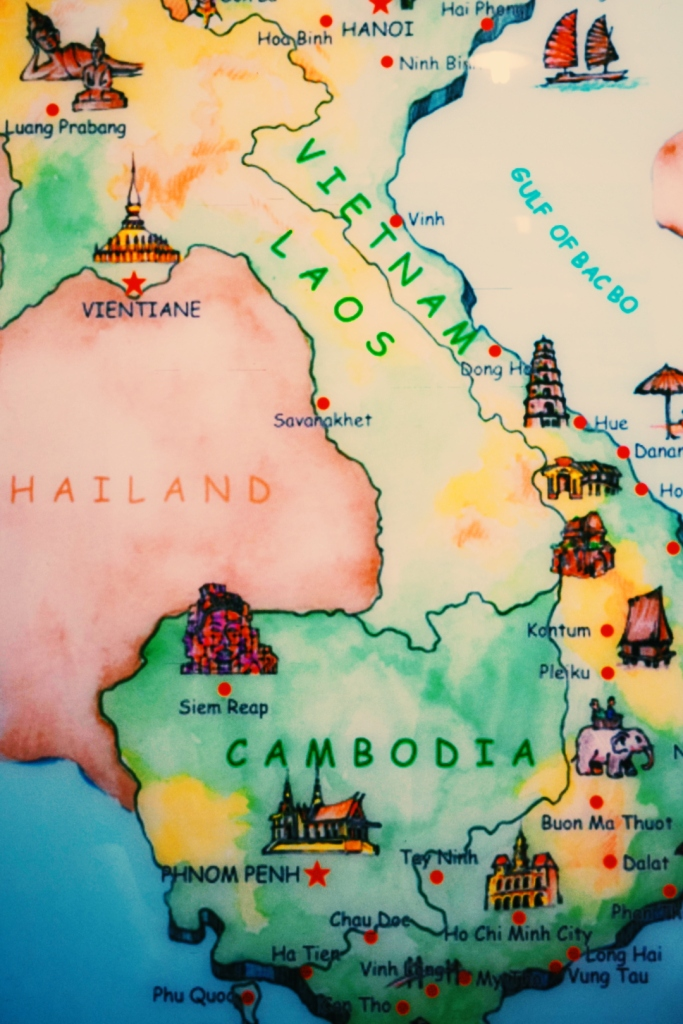 Tourist map at Cambodian bus station.
