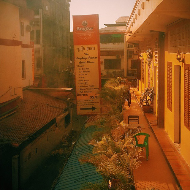 View onlooking the street below Natural Inn where Ricky and I stayed in Phonm Penh. Photo by Ricky.