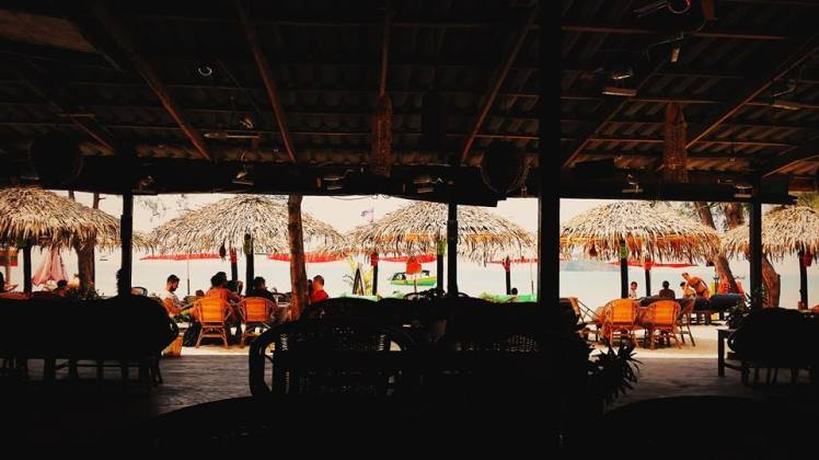 Looking from interior of the Bamboo Shack onto the ocean. Photo by Ricky.