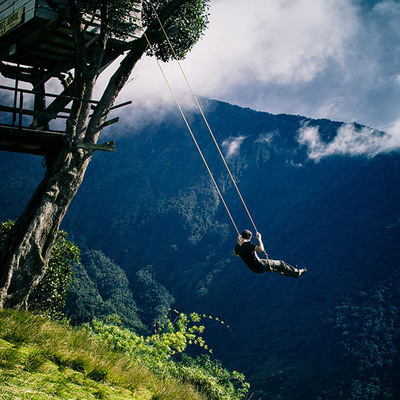 Swing at the End of the World, Ecuador. Photo from Atlas Obscura.