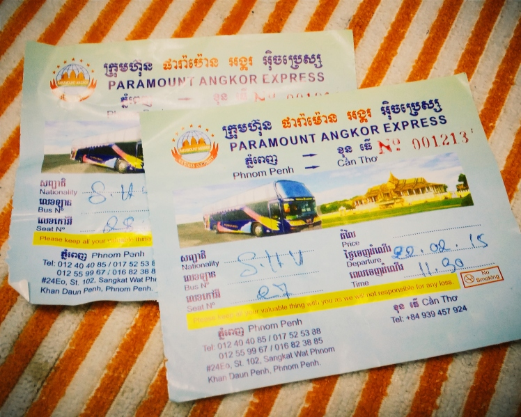 Our bus tickets from Phnom Penh to Sihanoukville.