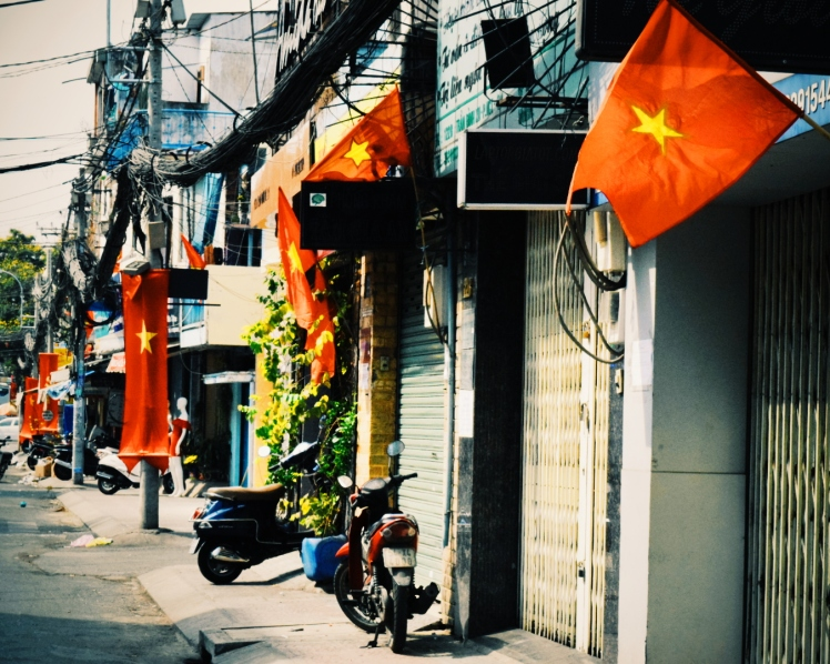 Vietnamese flags lining the streets in celebration for the Lunar New Year.