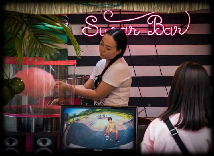 Cotton candy bar, complete with skateboarding simulator on the TV while you wait.