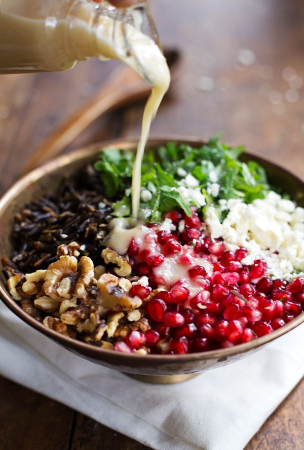 Pomegranate, Kale, and Wild Rice Salad with Walnuts and Feta. Photo from Pinterest.