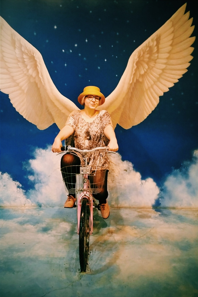 Cruisin' through the clouds like the angel I am.