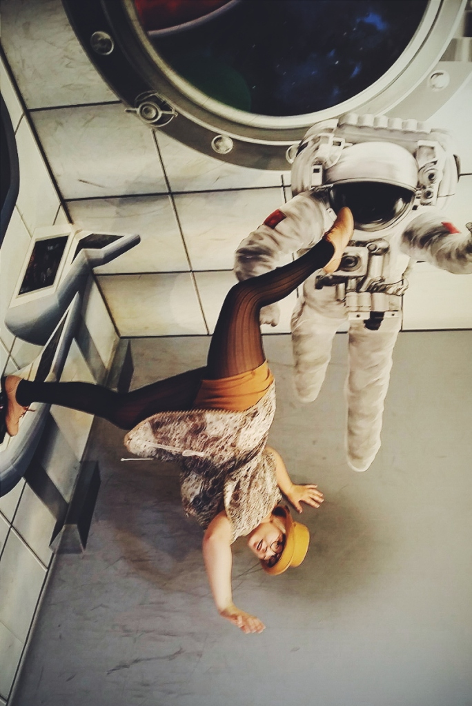 """Whoooo I'm in space - oop, sorry for kicking you in the face, Mr. Astronaut..."""