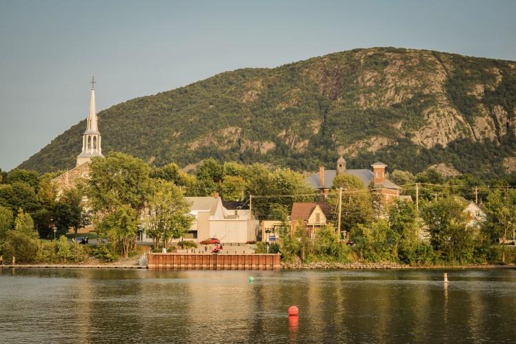 Across the water, seen from Vieux Beloeil's waterside walkway.