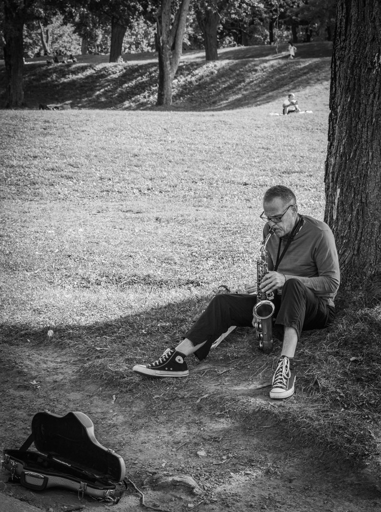 Busker on the banks of Mount Royal.