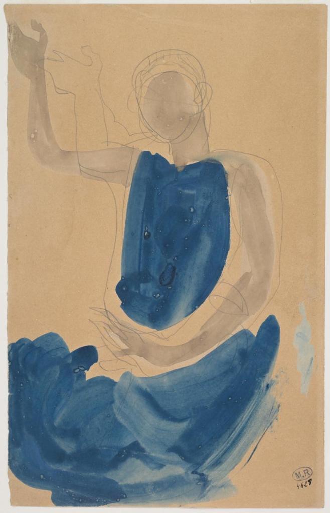 """Cambodian Sitting Dancer"", pencil, watercolour, and gouache."
