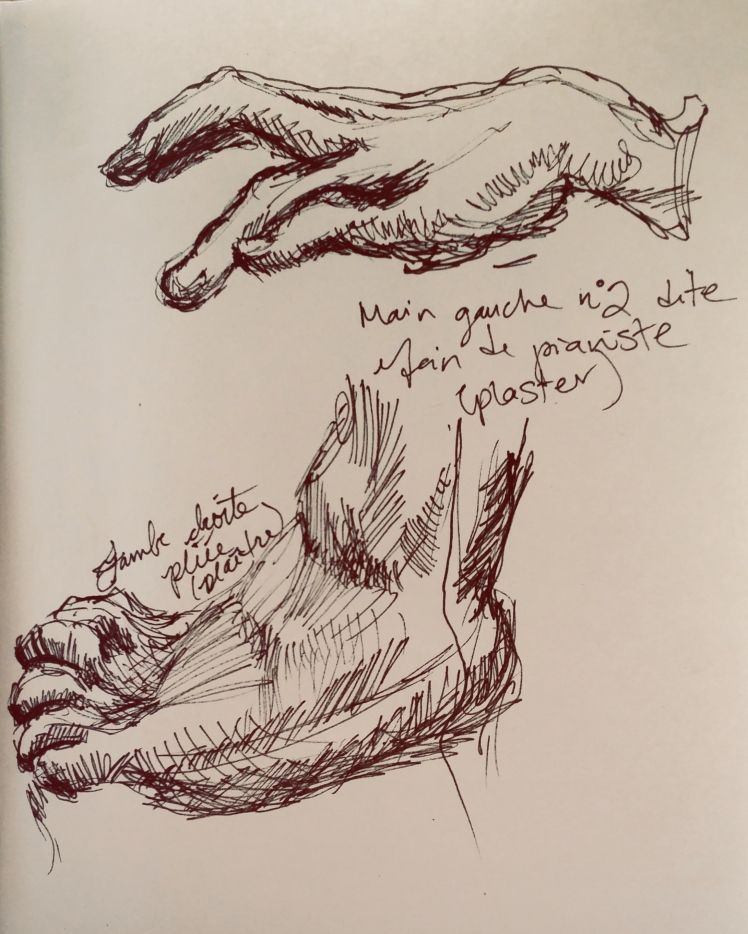 Hand and foot study from plaster sculptures.