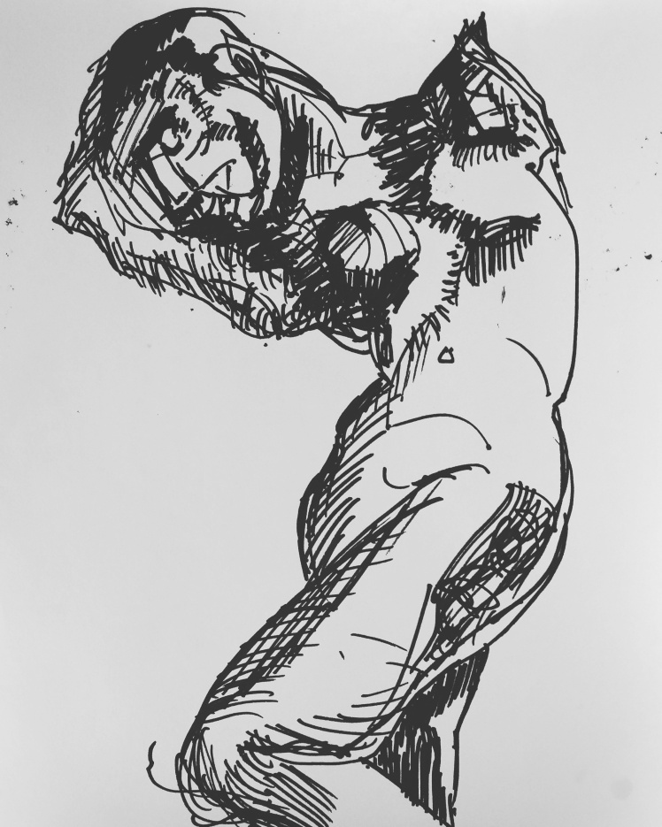 Initial sketch, marker.