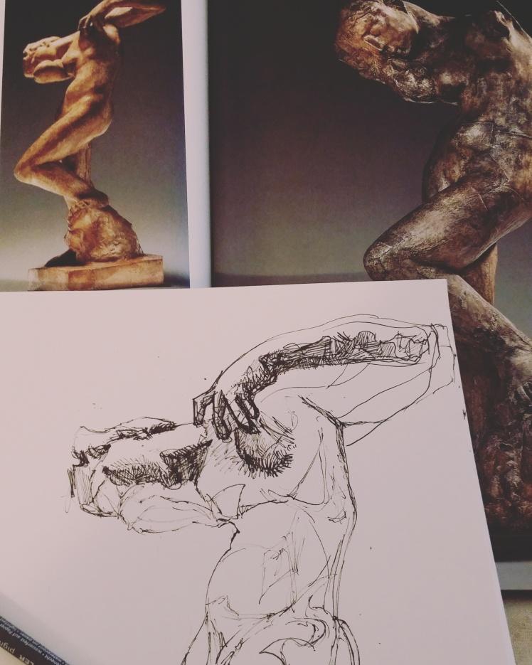 Progress sketch, ink.