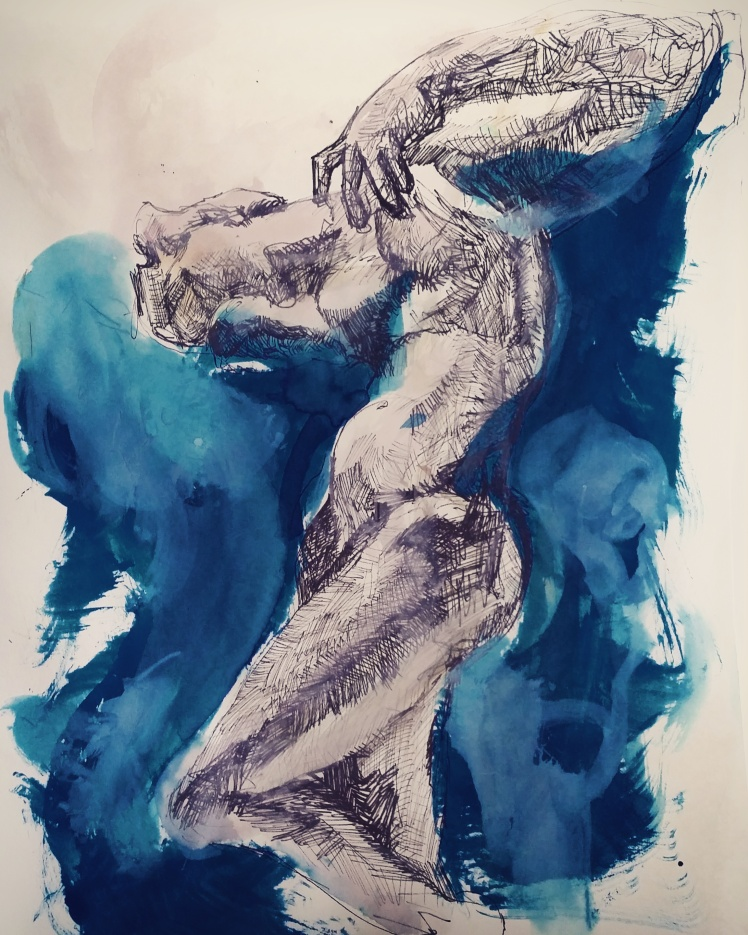 """Finished sketch using ink, gouache, and Norway Blue watercolour dye inspired by Rodin's """"Cambodian Sitting Dancer""""."""