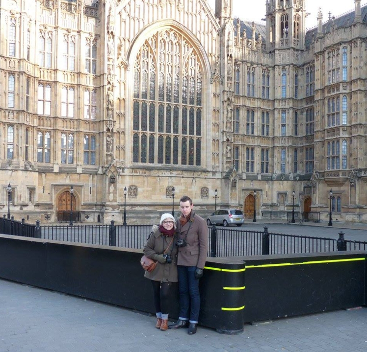 2016 London January Ricky and I in Front of Parliament