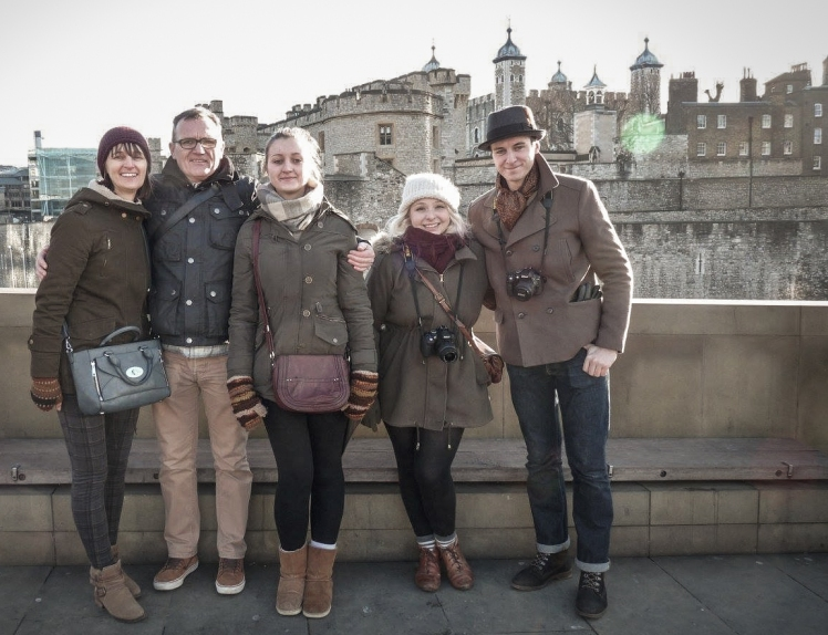 2016 London January Ricky's Family in Front of Tower of London
