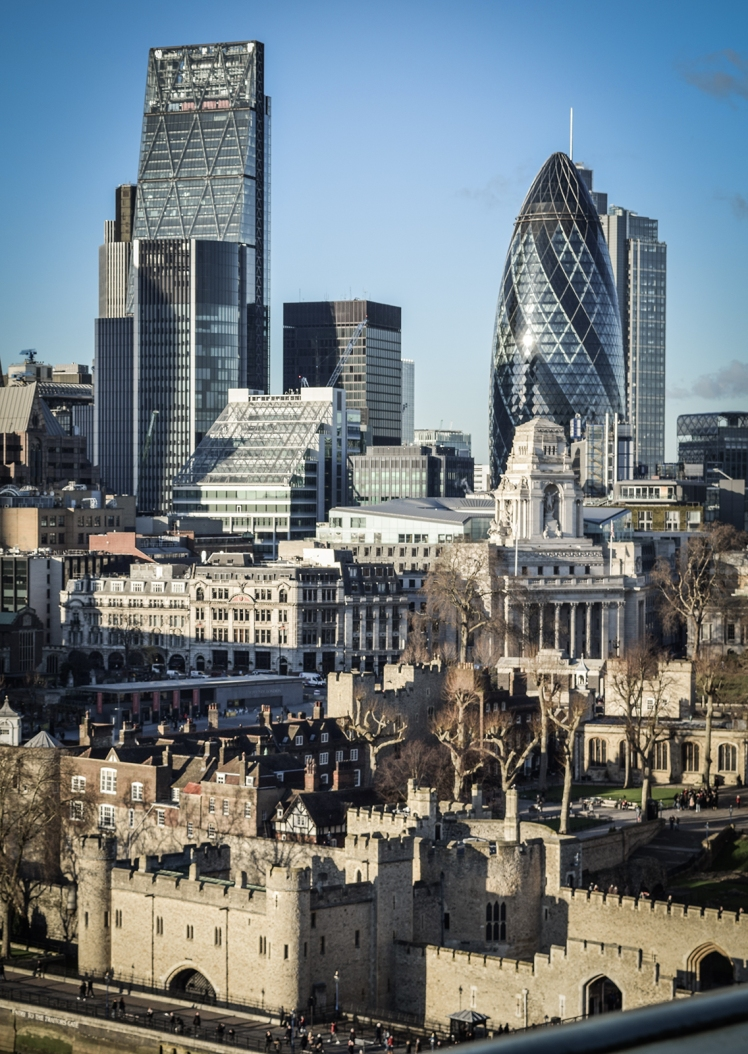 2016 London January Gherkin and Tower of London View small