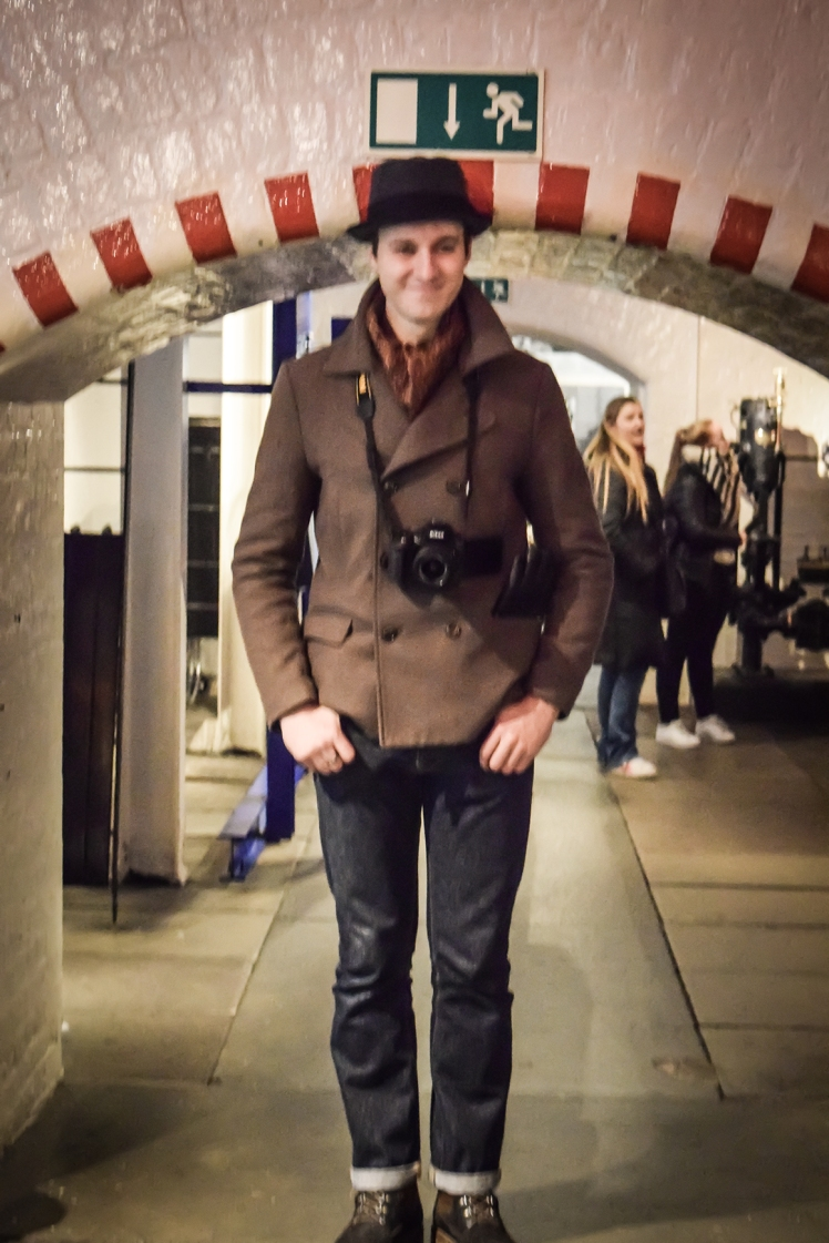 2016 London January Ricky Being Tall in Tower Bridge Engine Rooms small