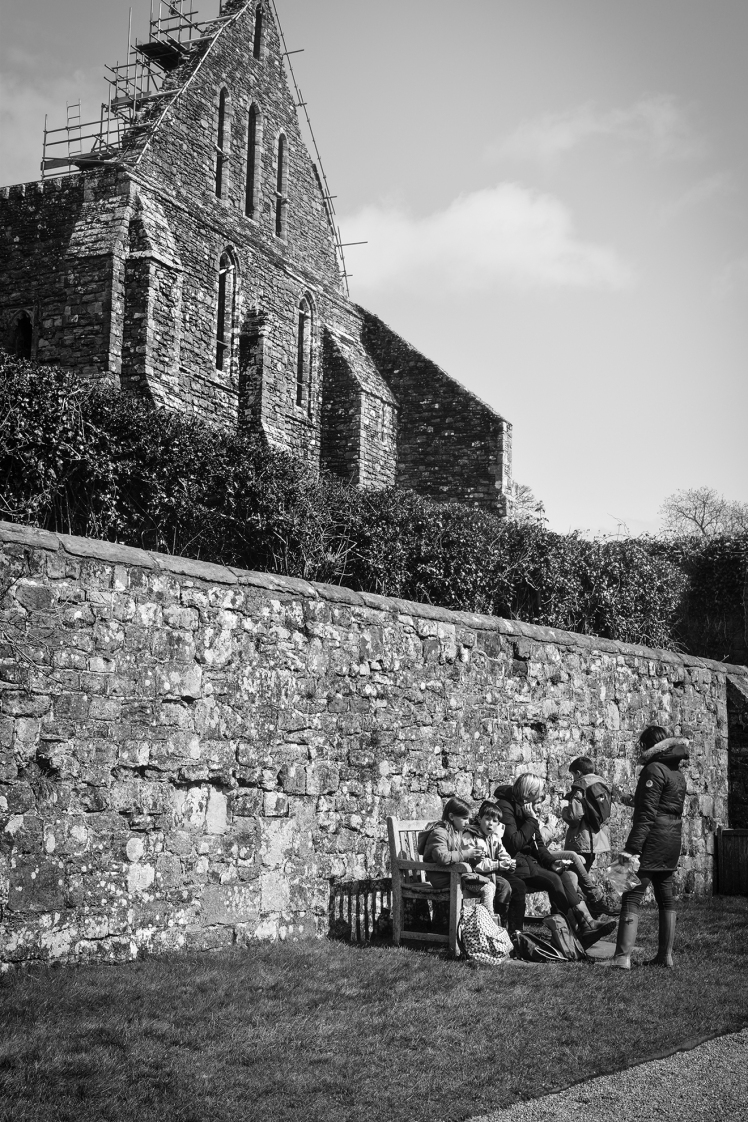 2016 Battle Abbey Family on Bench Outside Wall small