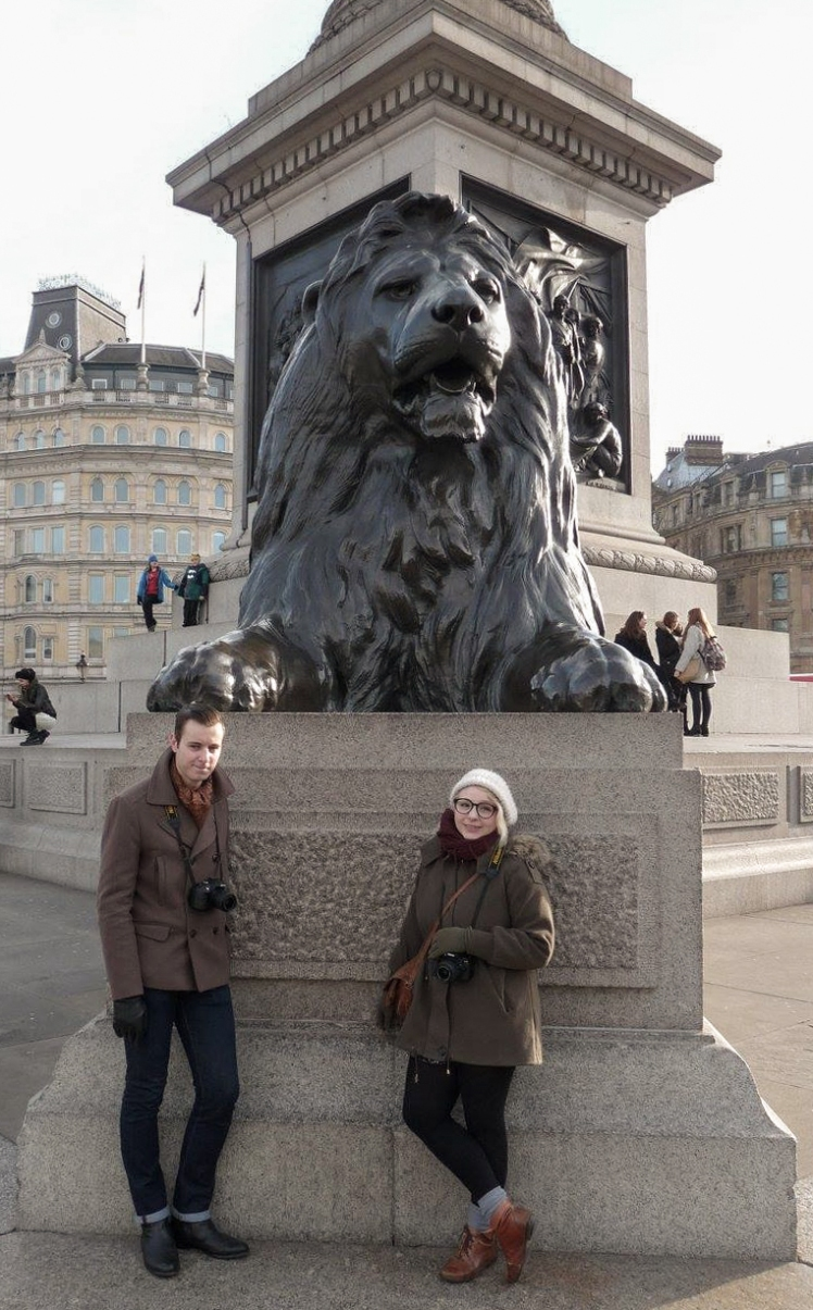 2016 London January Nelson's Column Lion Ricky and I Napoleon