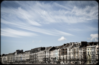 2016 Hastings Tall Sky Wispy Clouds Victorian Seafront Buildings small
