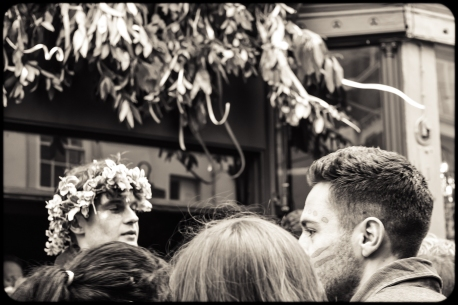2016 Jack in the Green Black and White Crowd Man With Flower Crown small