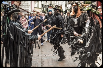 2016 Jack in the Green Black Morris Dancers Mid Leap small