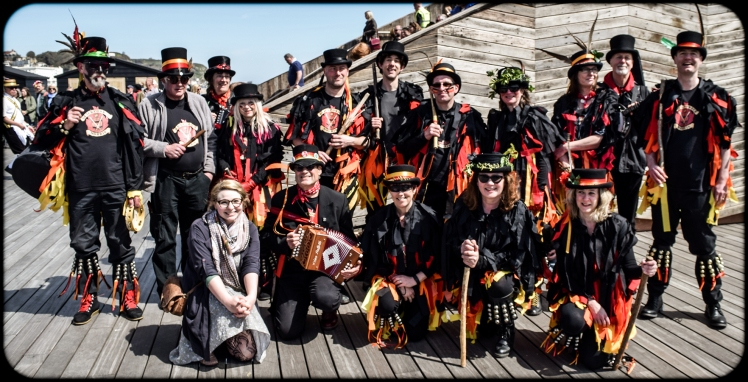 2016 Jack in the Green Me Posing With Black Morris Dancers small
