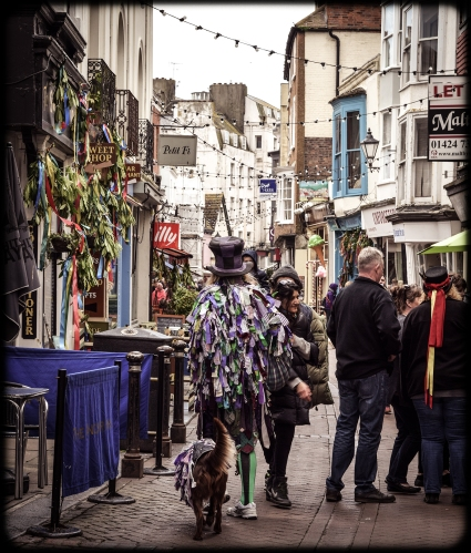 2016 Jack in the Green Morris Dancer Walking Dog George Street small