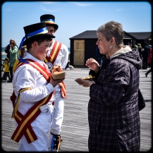 2016 Jack in the Green White Morris Dancer Kid Eating Chips small